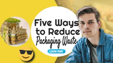 "Image text: ""5 ways to Reduce Packaging Waste""."