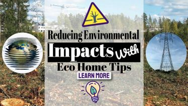 """Image text: """"Reducing environmental Impacts with Home Eco-Tips""""."""